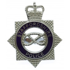 Staffordshire Police Senior Officer's Enamelled Cap Badge - Queen's Crown