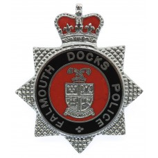 Falmouth Docks Police Enamelled Cap Badge - Queen's Crown