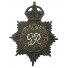 George VI Gravesend Borough Police Black Helmet Plate