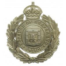 Gravesend Borough Police Wreath Helmet Plate - King's Crown
