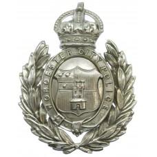 Worcester City Police Wreath Helmet Plate - King's Crown