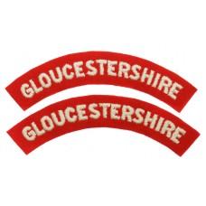 Pair of Gloucestershire Regiment (GLOUCESTERSHIRE) Cloth Shoulder Titles