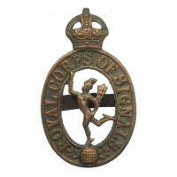 Royal Corps of Signals Officer's Service Dress Cap Badge - King's Crown