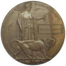 WW1 Memorial Plaque (Death Penny) - William Francis