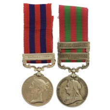 1854 IGS (Clasp - Hazara 1888) and 1895 IGS (2 Clasps - Punjab Frontier 1897-98, Tirah 1897-98) Medal Pair - Captain H.B. Wallis, 34th Bengal Infantry / 34th Pioneers