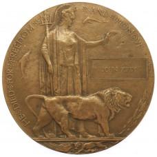 WW1 Memorial Plaque (Death Penny) - John Kirby