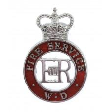 War Department Fire Service Chrome and Enamel Cap Badge - Queen's Crown