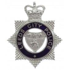 Leeds City Police Senior Officer's Enamelled Cap Badge - Queen's