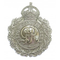 George V Devon Constabulary Wreath Helmet Plate