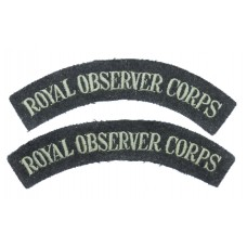 Pair of Royal Observer Corps (ROYAL OBSERVER CORPS) Cloth Shoulder Titles