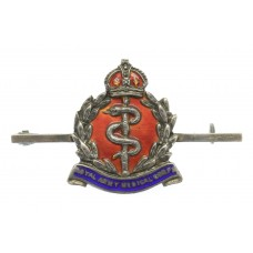 Royal Army Medical Corps (R.A.M.C.) Sterling Silver & Enamel Sweetheart Brooch - King's Crown
