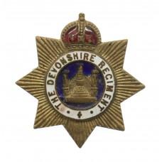 Devonshire Regiment Enamelled Sweetheart Brooch - King's Crown