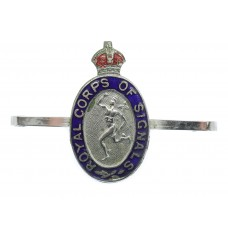 Royal Corps of Signals Sweetheart Brooch - King's Crown