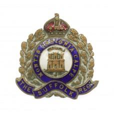 Suffolk Regiment Enamelled Sweetheart Brooch - King's Crown