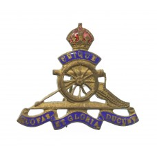 Royal Artillery Brass and Enamel Sweetheart Brooch - King's Crown