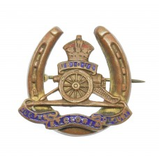 Royal Artillery Brass and Enamel Horseshoe Sweetheart Brooch