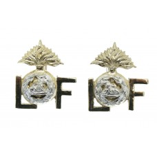 Pair of  Lancashire Fusiliers Anodised (Staybrite) Collar Badges