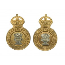Pair of Army Catering Corps Officer's Collar Badges - King's Crown