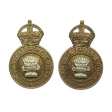 Pair of Army Catering Corps Collar Badges - King's Crown