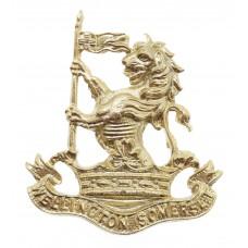 Wellington School Somerset O.T.C. Anodised (Staybrite) Cap Badge