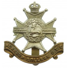 Worksop College O.T.C. Nottinghamshire Cap Badge - King's Crown