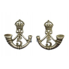 Pair of Indian Army 5th Mahratta Light Infantry Officer's 1933 Hallmarked Silver Collar Badges