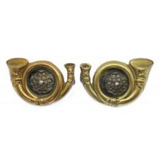 Pair of King's Own Yorkshire Light Infantry (K.O.Y.L.I.) Officer's Collar Badges