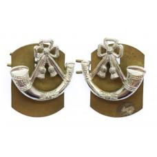 Pair of Light Infantry Anodised ( Staybrite) Collar Badges