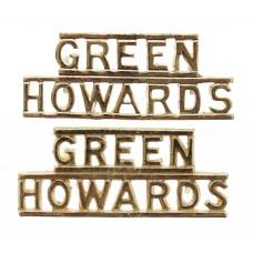Pair of Green Howards (GREEN/HOWARDS) Anodised (Staybrite) Shoulder Titles