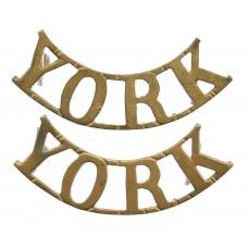 Pair of Yorkshire Regiment (YORK) Shoulder Titles