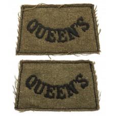 Pair of Queen's (Royal West Surrey) Regiment WW2 Cloth Slip On Shoulder Titles