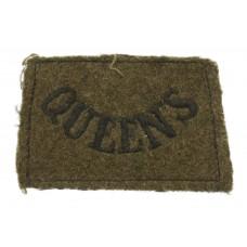 The Queen's (Royal West Surrey) Regiment (QUEEN'S) WW2 Cloth Slip On Shoulder Title