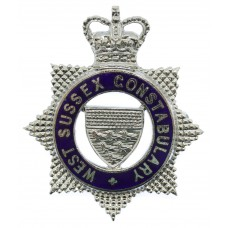 West Sussex Constabulary Senior Officer's Enamelled Cap Badge - Queen's Crown
