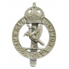 Liverpool City Police Chrome Cap Badge - King's Crown