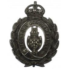 Stockport Borough Police Blackened Wreath Helmet Plate - King's C