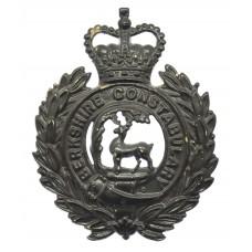 Berkshire Constabulary Black Wreath Helmet Plate - Queen's Crown