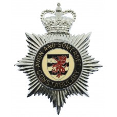 Avon and Somerset Constabulary Enamelled Helmet Plate - Queen's Crown