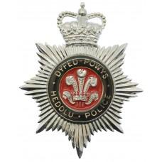 Dyfed - Powys Heddlu Police Enamelled Helmet Plate - Queen's Crown