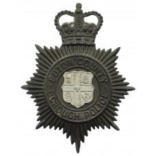 Luton County Borough Police Night Helmet Plate - Queen's Crown
