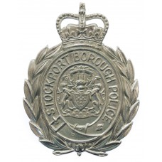 Stockport Borough Police Wreath Helmet Plate - Queen's Crown