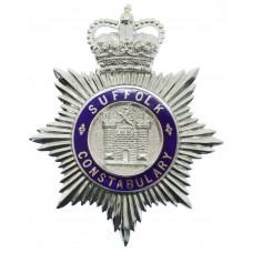 Suffolk Constabulary Enamelled Helmet Plate - Queen's Crown