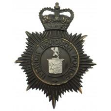 Ipswich Borough Police Night Helmet Plate - Queen's Crown