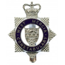 West Mercia Constabulary Enamelled Star Cap Badge - Queen's Crown