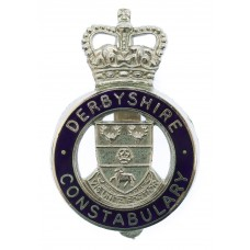 Derbyshire Constabulary Enamelled Cap Badge - Queen's Crown