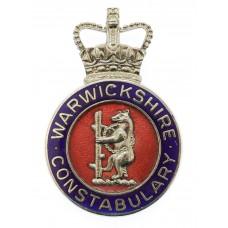 Warwickshire Constabulary Enamelled Cap Badge - Queen's Crown
