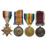 WW11914-15 Star, British War Medal, Victory Medal and LS&GC Medal Group of Four - Sjt. L.W. Tasker, Royal West Kent Regiment and R.A.S.C.