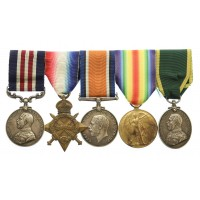 WW1 Military Medal, 1914-15 Star, British War Medal, Victory Medal and Territorial Force Efficiency Medal Group of Five - Sgt. J.F. Oakes, Army Service Corps