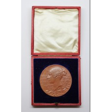 Large Bronze 1897 Queen Victoria Diamond Jubilee Medal Medallion in Fitted Box