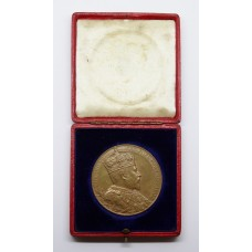 Large Bronze 1902 King Edward VII Coronation Medal Medallion in Fitted Case