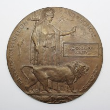WW1 Memorial Plaque Death Penny - John Janes Kinsey, 18th Bn. Manchester Regiment - K.I.A.